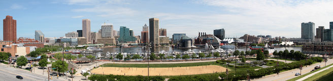 Baltimore Maryland Inner Harbor Panoramic Skyline Stock Photo