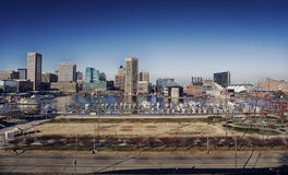 Baltimore Maryland Inner Harbor Skyline and Park Royalty Free Stock Photo
