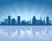Baltimore Maryland miasta linii horyzontu sylwetka royalty ilustracja