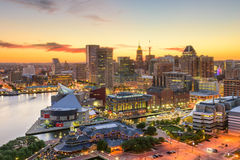Baltimore Maryland Skyline. Baltimore, Maryland, USA downtown cityscape at dusk Stock Photos