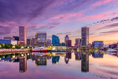 Baltimore Maryland Skyline. Baltimore, Maryland, USA skyline at the Inner Harbor royalty free stock photos