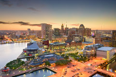 Baltimore Maryland Skyline. Baltimore, Maryland, USA inner harbor and downtown skyline at dusk royalty free stock photo