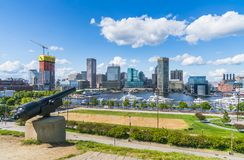 Baltimore,maryland,usa. 09-07-17 : Baltimore skyline on sunny d royalty free stock images
