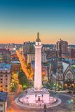Baltimore, Maryland, USA. Cityscape at Mt. Vernon and the Washington Monument royalty free stock image
