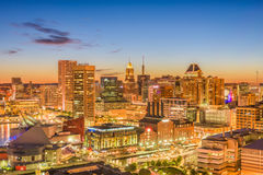 Baltimore, Maryland, USA. Inner harbor and downtown skyline at dusk stock images