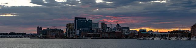 Baltimore Inner Harbor sunset panorama stock images