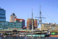 Baltimore Downtown Buildings with Sailboat stock photos