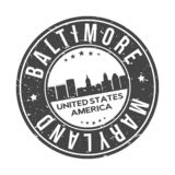 Baltimore Maryland USA Round Button City Skyline Design Stamp Vector Travel Tourism. Skyline with emblematic Buildings and Monuments of this famous city vector illustration
