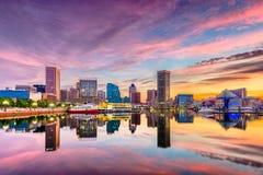 Baltimore, Maryland, USA Skyline. On the Inner Harbor at dusk stock photos