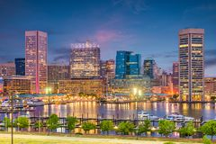 Baltimore, Maryland, USA Skyline. On the Inner Harbor at dusk royalty free stock image