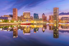 Baltimore, Maryland, USA Skyline on the Inner Harbor at dusk stock images