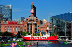Baltimore, MD: Chesapeake Lightship & Power Plant royalty free stock photo