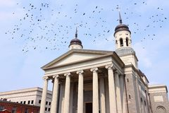 Baltimore. MD, United States.  Basilica church. Ominous birds royalty free stock photography