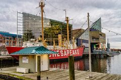 Baltimore, MD, USA December 18, 2016 National Aquarium in Baltimore stand out in the Inner Harbor area stock image