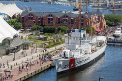 USCGC Taney in Baltimore MD. Baltimore, MD, USA - June 16, 2012: USCGC Taney, notable as the last ship floating that fought in the attack on Pearl Harbor, is now stock images