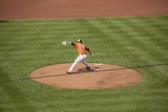 David Hess rookie pitching game. Baltimore, MD, USA - May 12, 2018  - David Hess rookie debut pitching game for Baltimore Orioles in Camden Yard Royalty Free Stock Photos
