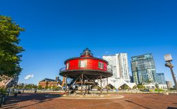 baltimore,md,usa. 09-07-17: Seven Foot Knoll Lighthouse, baltimore inner harbor on sunny day. stock photography