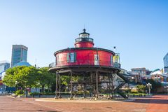 baltimore,md,usa. 09-07-17: Seven Foot Knoll Lighthouse, baltimore inner harbor on sunny day. stock photo