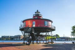baltimore,md,usa. 09-07-17: Seven Foot Knoll Lighthouse, baltimore inner harbor on sunny day. royalty free stock photo