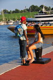 Baltimore, MD: Young Couple at Inner Harbor Royalty Free Stock Images