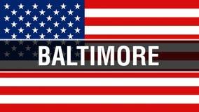Baltimore miasto na usa flagi tle, 3D rendering Zlani stany Ameryka zaznaczają falowanie w wiatrze amerykańska flaga dumna ilustracja wektor