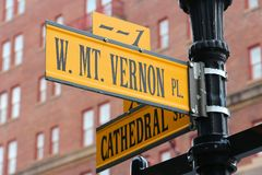 Baltimore - Mt Vernon. Baltimore, Maryland in the United States. Famous landmark - Mount Vernon Place Stock Photos