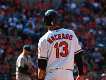 Baltimore Orioles Manny Machado. The Baltimore Orioles Manny Machado at first base after getting a hit during a Baltimore Orioles vs Oakland Athletics game on 8 Royalty Free Stock Photography