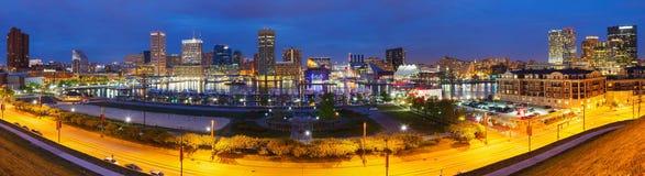 Baltimore på natten Fotografering för Bildbyråer