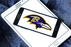 Baltimore Ravens american football team logo. Logo of Baltimore Ravens american football team on samsung mobile. The Baltimore Ravens are a professional American Stock Photo