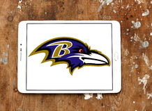 Baltimore Ravens american football team logo. Logo of Baltimore Ravens american football team on samsung tablet on wooden background. The Baltimore Ravens are a Royalty Free Stock Images