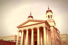 Baltimore retro. Baltimore, Maryland in the United States. Baltimore Basilica church. Cross processing color style - retro filtered tone stock image