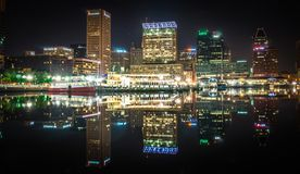 Baltimore skyline and docks reflecting in the water at night royalty free stock photo