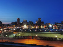 Baltimore Skyline at Dusk. The Downtown Baltimore, Maryland Skyline on the Inner Harbor at Dusk form Federal Hill stock images