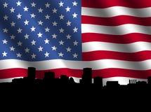 Baltimore skyline with flag Stock Photography