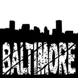 Baltimore skyline with grunge text Royalty Free Stock Image
