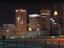 Baltimore Skyline at Night stock image