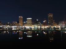 Baltimore Skyline at Night royalty free stock photography