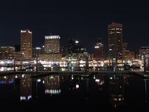 Downtown Baltimore Maryland Skyline at Night Royalty Free Stock Images