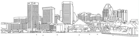 Baltimore-Skyline-Skizze Stockfoto