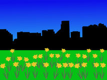Baltimore skyline in spring vector illustration
