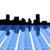 Baltimore skyline with text Royalty Free Stock Photos