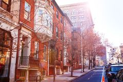 Baltimore streets with red brick houses, USA stock photo
