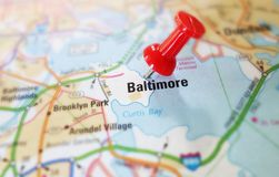 Baltimore tack. Baltimore Maryland map with red tack royalty free stock photos