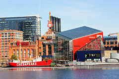 Baltimore, USA - January 31, 2014: The Chesapeake lightship and the Torsk submarine are moored in front of the National Aquarium o Stock Photography