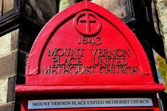 Baltiore, MD: Zeichen an Ubited-methodistischer Kirche Lizenzfreies Stockfoto