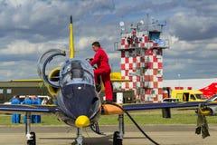 Baltische Bienen-Jet Team-Mannschaft mit L-39 planiert auf Rollbahn Stockbilder