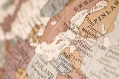 Baltische de kaart dichte omhooggaand van het oosten Stock Afbeeldingen