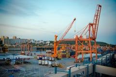 Baltischer Containerbahnhof in Gdynia Stockbild