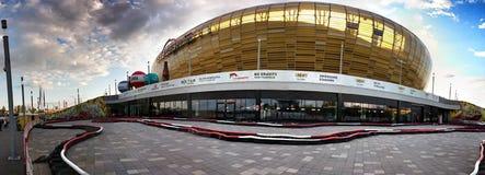 Baltisches Arena-Stadion Künstlerischer Blick in den Weinlesekräftigen farben Stockbild