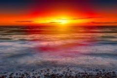 baltisk havssolnedgång Arkivbilder